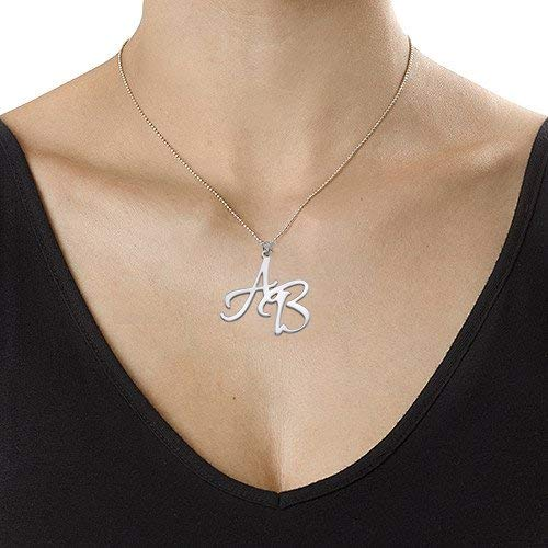 Custom Two Initial Names Necklace in 925 Sterling Silver Personalized Engraved Name Chain Jewelry Gift for Her