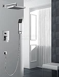 ZKiES Grifo de ducha-Contemporáneo-Cascada / Con Termostato / Ducha lluvia / Alcachofa incluida-Latón(Cromo)