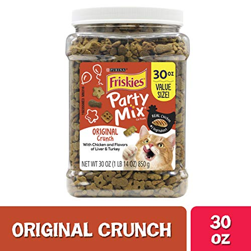 Purina Friskies Made in USA Facilities Cat Treats, Party Mix Original Crunch - 30 oz. Canister (Cat Party)