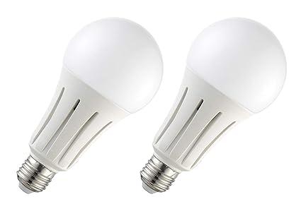 2x Bombilla LED greenandco® IRC 90+ E27 24W (corresponde a 150W) opaca
