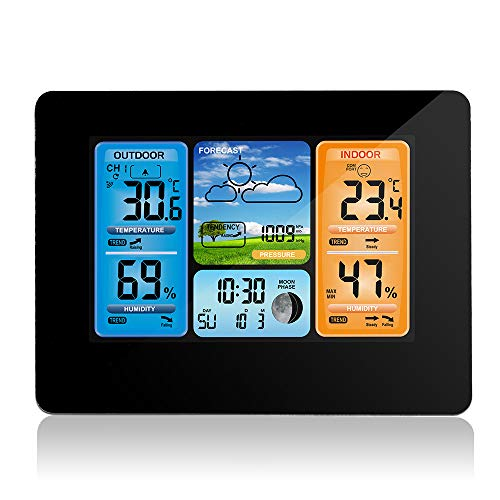 Barbella Wireless Weather Forecast Station-Color Display Alarm Clock Temperature Alerts, Indoor Outdoor Temperature Humidity, Remote Sensor, Barometer Temperature Alerts, Alarm Clock and Moon (Black)