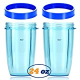 Replacement Blender Cups for NutriBullet Brand Accessories 600w 900w (24oz, Dark Blue Lip Rings)