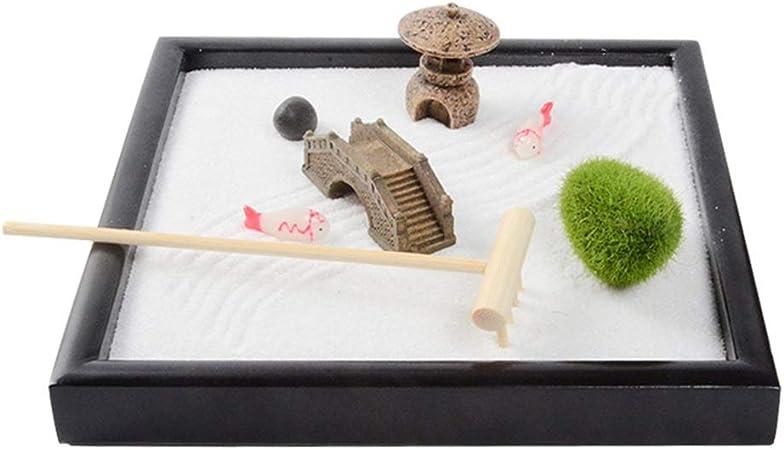 Xiao Jian- Mini Jardín Zen, Jardín Bandeja Meditación Zen con Arena Rastrillos Torre Puente De Piedra Miniatura Adorno De Jardín Kit De Escritorio Decoración: Amazon.es: Hogar