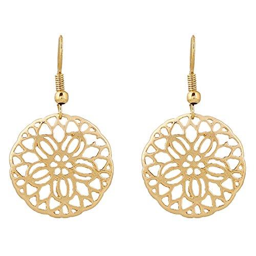 D EXCEED Fashion Gold Bib Filigree Flower Cutout Dangle Drop Earrings for Women