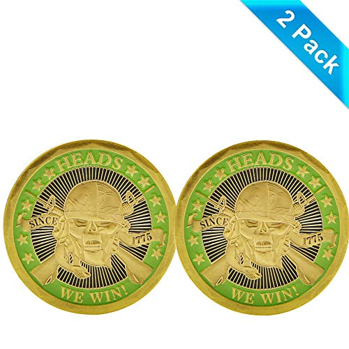 zcccom 2 pcs Set of Challenges Coins Deluxe Collectors Set | Heads We Win Tails You Lose Challenge Coin - Officially Licensed Each Coin Comes w/ a Plastic Round Display Case