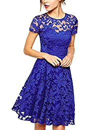 Ruiyige Womens O-Neck Short Sleeve Floral Lace Mini Party Evening Cocktail Dress