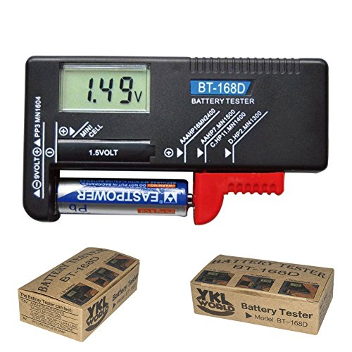 YKL WORLD Battery Tester, Digital LCD Universal Battery Checker for AA AAA C D 9V 1.5V Button Cell Batteries (Model: BT-168D)