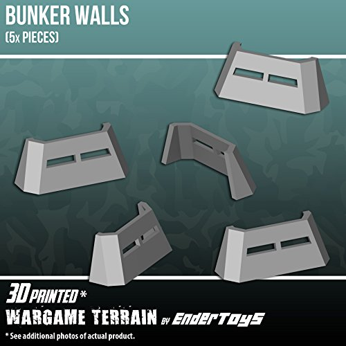 EnderToys Bunker Walls, Terrain Scenery for Tabletop 28mm Miniatures Wargame, 3D Printed and Paintable