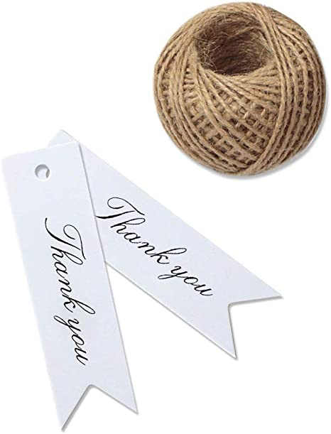 Wedding Party Handmade Thank you Hanging Label Kraft Gift Tags Jute Twine