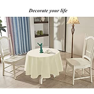 "YEMYHOM Spill-Proof Fabric Round Tablecloth for Dining Room, Wedding and Party (60"" Round, Off-White)"