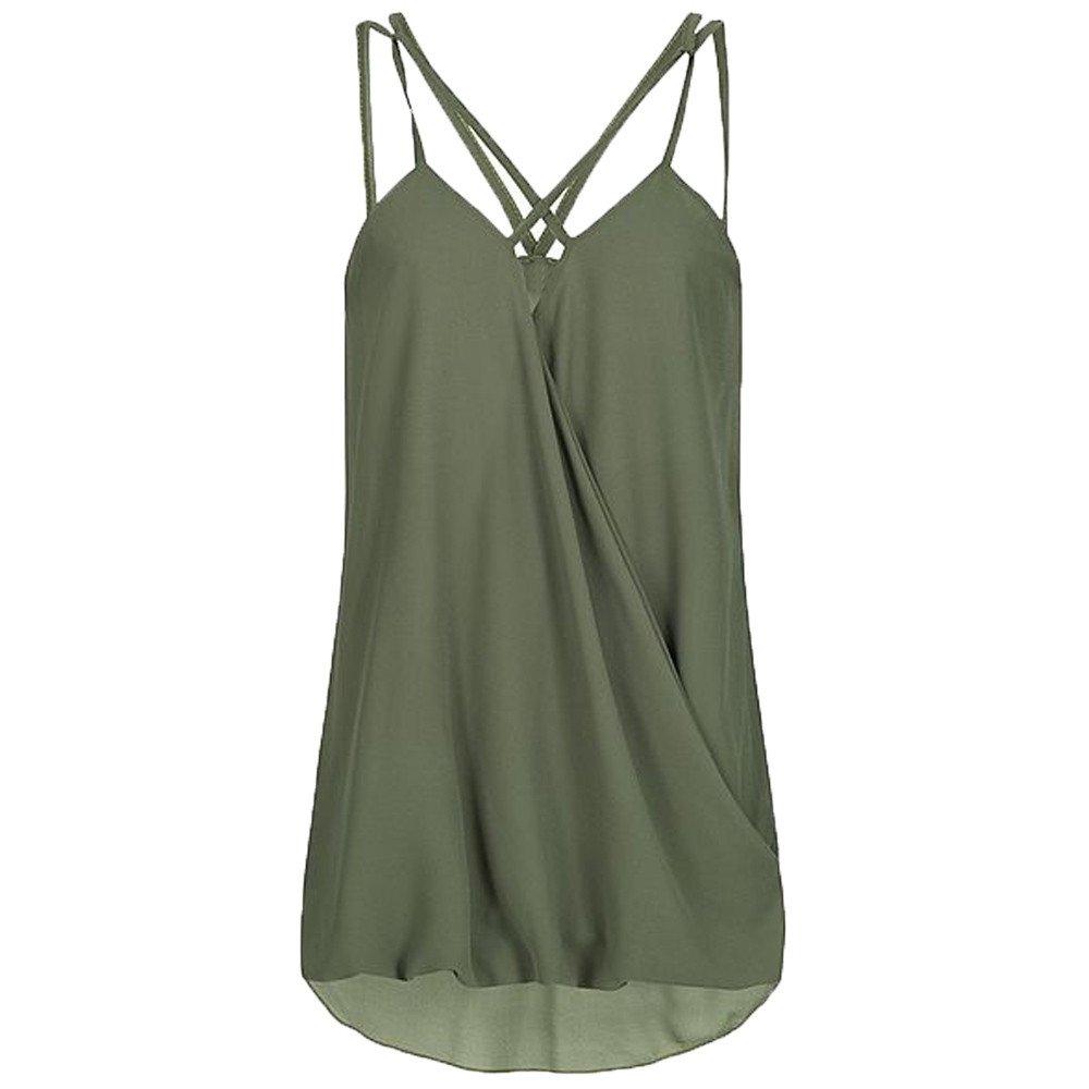 Dunacifa Women Tank Top Fashion Women Summer Wrap Cross Sleeveless Chiffon Casual Sling Tank Top Blouses Green