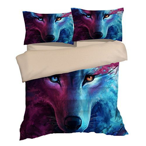 Personality Wolf Cotton Microfiber 3pc 104''x90'' Bedding Quilt Duvet Cover Sets 2 Pillow Cases King Size by DIY Duvetcover