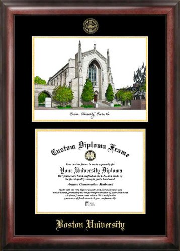 Boston University Gold embossed diploma frame with Campus Images lithograph by Campus Images