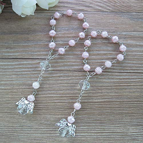 24 Pcs Pink Mini Rosary Baptism Favors with Angels for Girl Recuerdos de Bautizo Finger Rosaries Silver Plated (Pink Rosary For Party Favor)