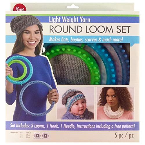 Boye 3702102001 Round Plastic Loom Lightweight Yarn Craft Set