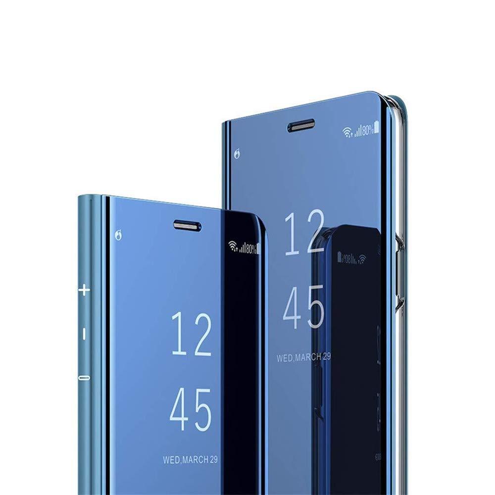 Huawei Mate 20 LiteケースカバーEMAXELERスタイリッシュミラーメッキフリップフルボディ保護反射Huawei Mate 20 Liteミラー用超薄型ハードアンチスクラッチ耐衝撃フレーム:ブルー   B07P42W564