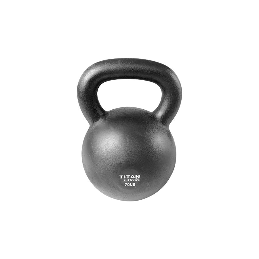 Titan Fitness Cast Iron Kettlebell Weight 70 lb Natural Solid Workout Swing