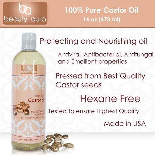 Красота Aura 100% Pure касторовое масло. Спрессованные из Best Кастор качества семян (16 жидких унций)