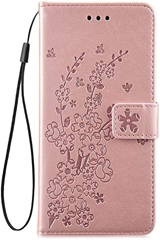 IKASEFU Compatible with Samsung Galaxy S10 Plus Case Emboss Plum blossom Floral Pu Leather Wallet Strap Case Card Slots Shockproof Magnetic Folio Flip Protective Cover Case,Rosa Gold