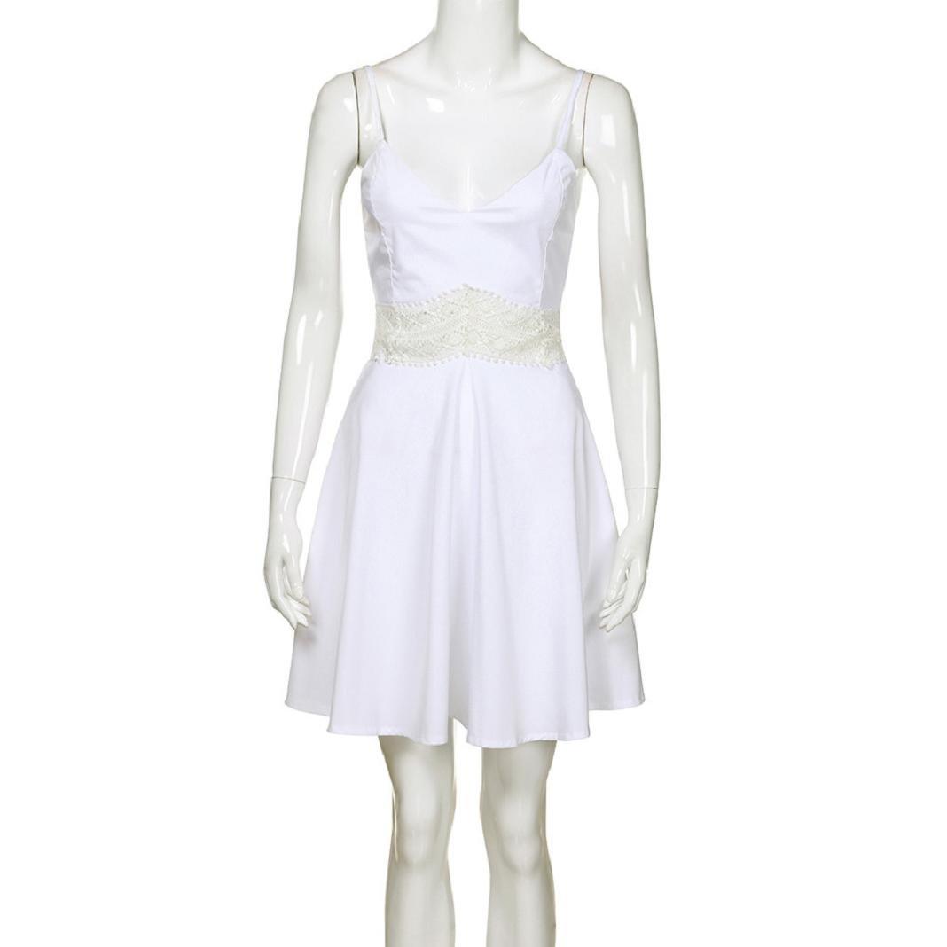 ShenPr Womens Spaghetti Strap Lace Patchwork V Neck Slim Waist Mini Dress at Amazon Womens Clothing store: