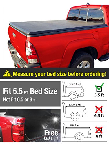 Premium TriFold Tonneau Truck Bed Cover For 2015-2016 F150 Short 5.5 feet (66 inch) Bed Trifold Truck Cargo Bed