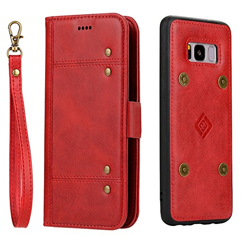 Samsung S8 Plus Wallet Case KingTo Synthetic Leather Slim Fit Retro Vintage Stand Smart Hand Strap Wallet Protective Case with Card Slots & ID Holder(Red) by KingTo