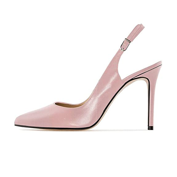 EKS Damen Elegante Spitzschuh Dünne Fersen Slingback Matte Dress Court Schuhe (40, Pink)
