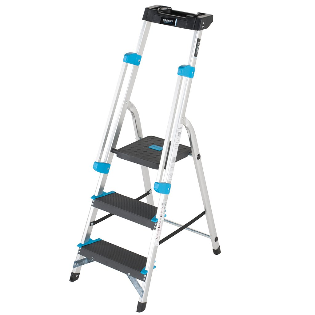 TB Davies Trade Professional 5-Tread Aluminium Step Ladders - Fitted with Twin Safety Handrails. EN131 Tool tray holds tools 1203-005