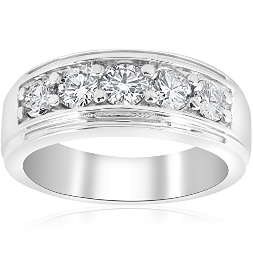 1 ct Mens Diamond Five Stone Wedding Ring 10k White Gold by Pompeii3