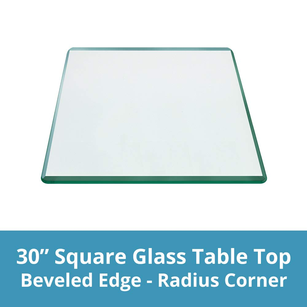 TroySys - 1/4'' Thick Square Glass Table Top (30'' x 30'') | USA Premier Glass Maker | High Strength Tempered Glass with Bevel Radius Edge | Great for Indoor or Outdoor Tables