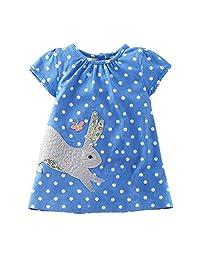 Zhengpin Summer New Child Skirt Cotton Dress Cartoon Girl Short Sleeve Skirt