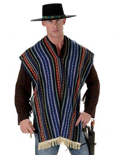 Bandito Halloween Costume (Mexican Bandito Poncho Adult Unisex Serape Shawl Multicolor Costume One Size)