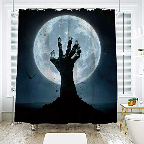 scocici DIY Bathroom Curtain Personality Privacy Convenience,Halloween Decorations,Zombie Earth Soil Full Moon Bat Horror Story October Twilight Themed,Blue Black,108.2