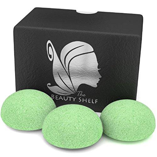 konjac-sponge-3-pack-facial-sponges-hemisphere-shape-green-tea-the-beauty-shelf