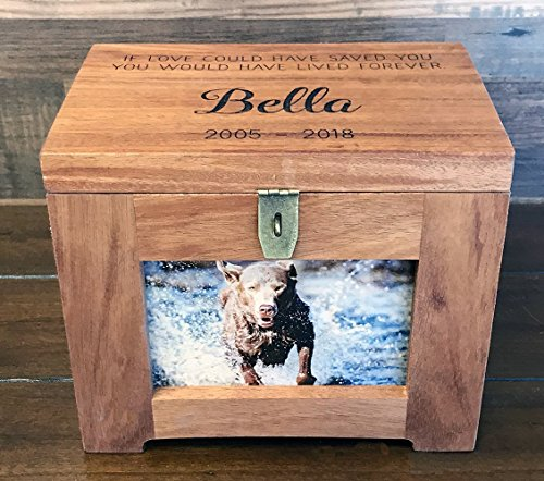 Personalized Premium Wood Pet Memory Box with Name and Quote or Poem - Memorial Photo Frame Chest Picture Keepsake - Dog, Cat, Lizard, - Chest Memorial