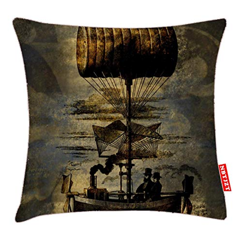 NBTJZT Night Flight Steampunk Flying Machine Pillow Cover Standard Throw Pillowcase 18X18 Inch