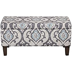 HomePop Large Upholstered Rectangular Storage Ottoman Bench with Hinged Lid, Slate Damask