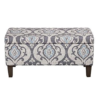 Kinfine Large Upholstered Storage Ottoman Bench with Hinged Lid, Slate Damask
