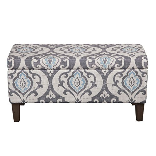 - HomePop Large Upholstered Rectangular Storage Ottoman Bench with Hinged Lid, Slate Damask