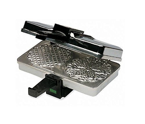 """Cucina Non-Stick Pizzelle Maker in Silver, Makes Two 5"""" C..."""