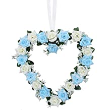 AerWo Wedding Door Decoration Blue Heart Shaped Rose Heart Wreath Artificial Silk Rose Flower Door Wall Hanging Wreaths Garland Wedding Car Favor Centerpieces