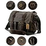Search : GEARONIC TM Men's Vintage Canvas Messenger Bag Shoulder and Leather Satchel School Military Fit for Notebook Laptop Macbook 11 and 13 inch Air Pro - Slate
