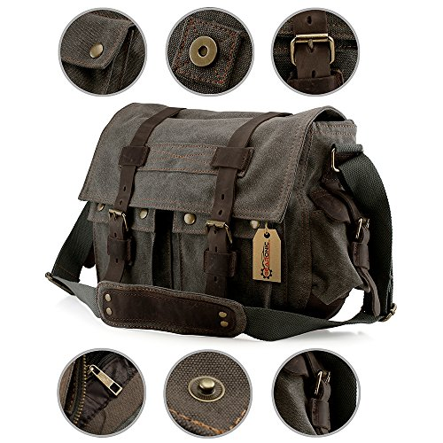 GEARONIC TM Men's Vintage Canvas Messenger Bag Shoulder and Leather Satchel School Military Fit for Notebook Laptop Macbook 11 and 13 inch Air Pro - Slate