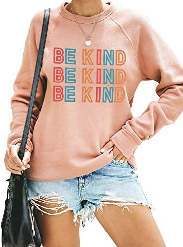Blooming Jelly Women`s Cute Graphic Sweatshirt Be Kind Crewneck Raglan Long Sleeve Pullover Top