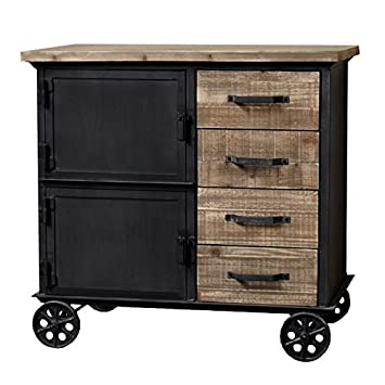pretty nice 1cc14 72980 Industrial Rustic Wood and Iron Chest of Drawers on Wheels ...