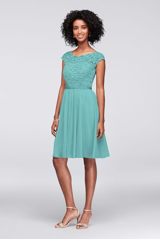 David\'s Bridal Short Lace and Mesh Bridesmaid Dress with Illusion ...