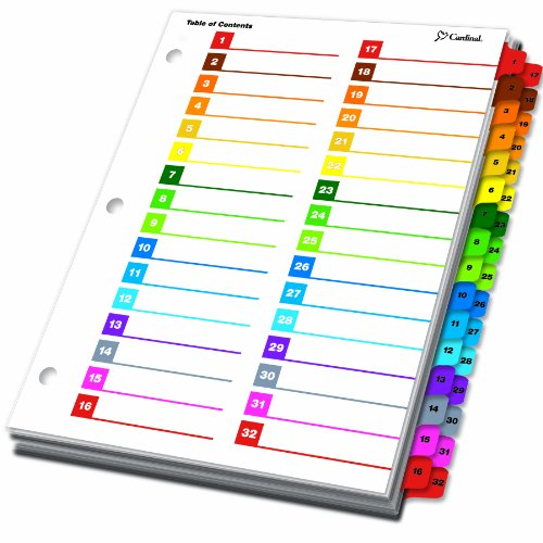 Amazon.com : Cardinal by TOPS Products OneStep Printable Table of ...