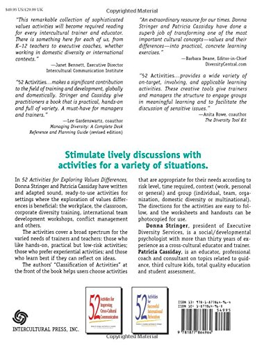 52 Activities for Exploring Values Differences: Donna M. Stringer ...