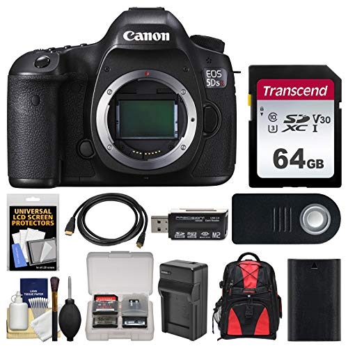 Canon EOS 5DS R Digital SLR Camera Body with 64GB Card + Backpack + Battery & Charger + Remote + Kit