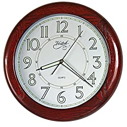 14-inches OAK Solid Wood Luminous Wall Clocks, Silent Sweep Quality Movement (Redwood OAK TCLD018)